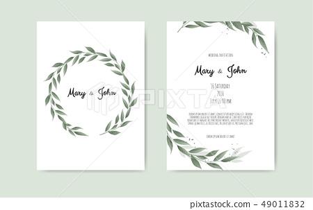 Botanical wedding invitation card template... - Stock Illustration ...