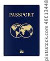 International biometric passport cover page. Blue 49013448