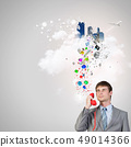 Businessman with red receiver 49014366
