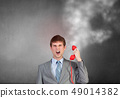 Businessman with red receiver 49014382