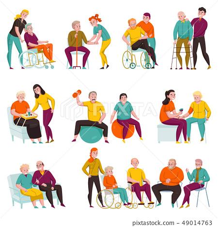 Volunteers Help Elderly Flat Set  49014763