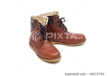 Male brown leather boot, footwear fashion isolated 49015794