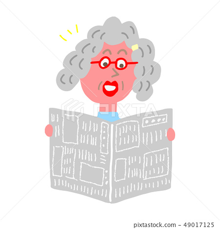 신문을 읽는 할머니 49017125