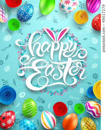 Happy Easter Day Poster.Vector illustration EPS10 49017279