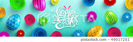 Happy Easter Day Poster.Vector illustration EPS10 49017281