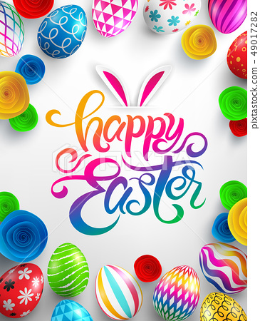 Happy Easter Day Poster.Vector illustration EPS10 49017282