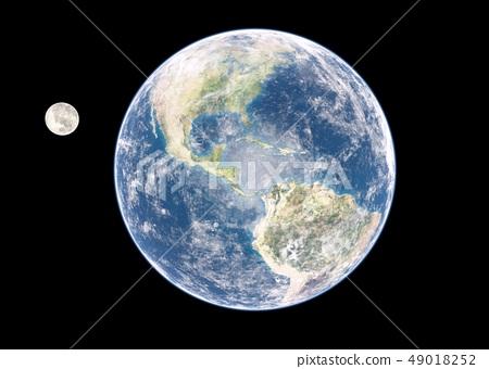 地球和月亮perming3DCG插圖素材 49018252