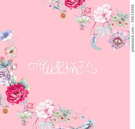 美麗的水彩牡丹花玫瑰花花卉 49018986