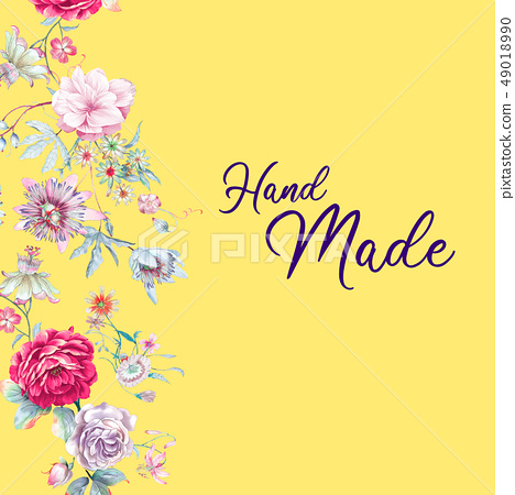 美麗的水彩牡丹花玫瑰花花卉 49018990