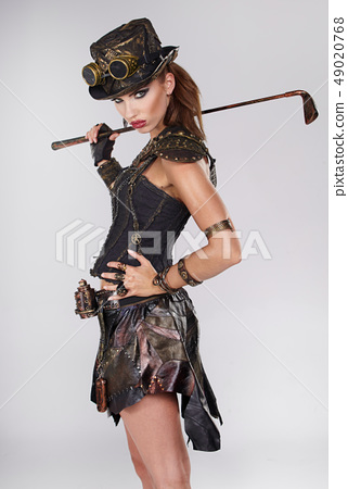 Steampunk woman golf player 49020768