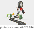 Curved road with white markings and tape dispenser. 3d illustration 49021284