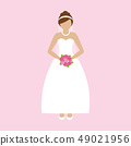 romantic bride in white dress with pink flowers 49021956