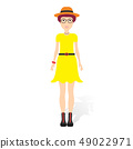 Beautiful young woman in fashion clothes. Detailed female characters with accessories. Flat style 49022971