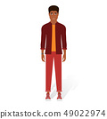 Vector illustration of black man in casual clothes on the white background. Cartoon realistic people 49022974