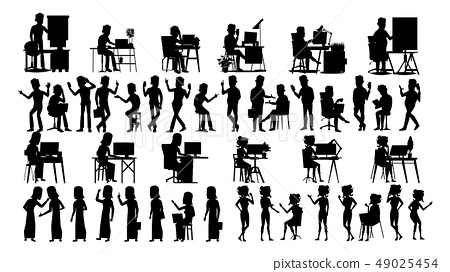 Business People Silhouette Set Vector. Male, Female. Guy Young. Figure Collection. Office Suitcase 49025454