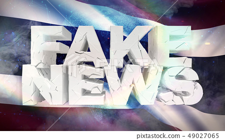 3D illustration of fake news concept with background flag of Thailand. 49027065