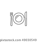 Plate, Fork and Knife Related Vector Line Icon. 49030549