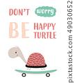 cute turtle on skateboard 49030652