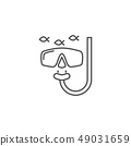 Snorkeling Related Vector Line Icon. 49031659