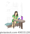 businesswoman using mobile phone at coffee shop 49033128