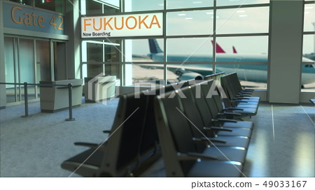 Fukuoka flight boarding now in the airport terminal. Travelling to Japan conceptual 3D rendering 49033167
