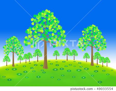 Green grassland trees 49033554
