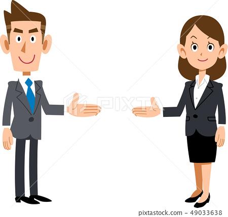 一套雙方介紹的辦公室工作人員的男人和女人 49033638