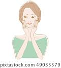 美容捷徑女人摸臉和微笑 49035579
