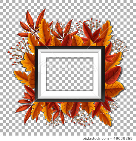 Picture frame with orange leaves in background 49039869