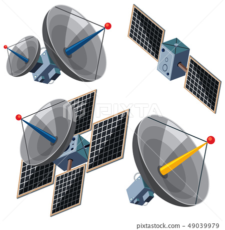 Different designs of satellites 49039979