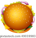 Top view of hamburger with cheese 49039983