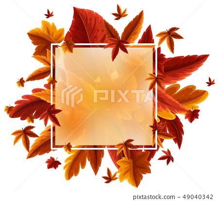 Border template with orange leaves 49040342