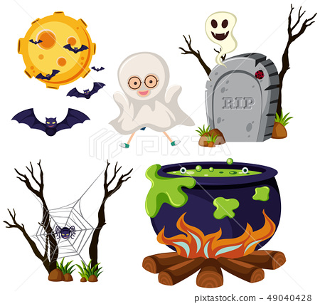 Different halloween elements on white background 49040428