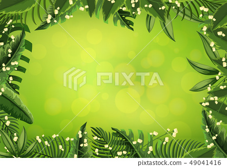 Background template with white flowers and green 49041416