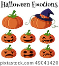 Jack-o-lantern with different facial expressions 49041420