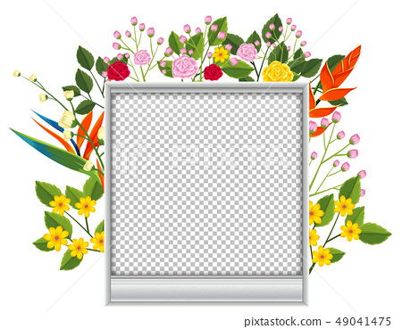 Blank picture frame with colorful flowers 49041475