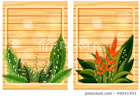 Two wooden boards with flower frames 49041491
