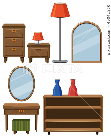 Different furnitures made of wood 49041550