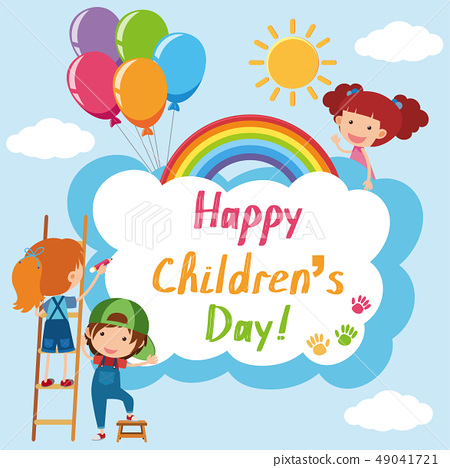 Happy Children's day poster with kids in sky 49041721