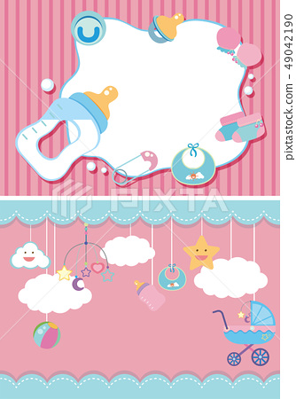 Two background template with baby items 49042190