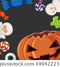 Border template with halloween elements 49042223