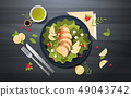 healthy fresh vegetable salad with chicken and sauce in black bowl top angle view restaurant food 49043742