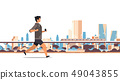 fitness man running outdoor guy listening to music with headphones on smartphone healthy lifestyle 49043855