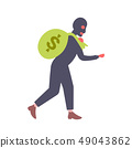 man in black mask carrying money sack crime robber holding big bag rapid illicit earnings theft and 49043862