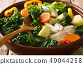 Homemade delicious chicken soup with kale 49044258