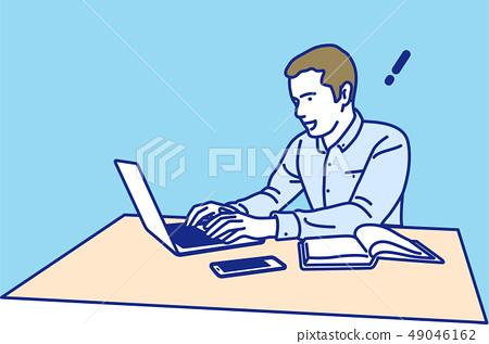 노트북에서 일하는 남성 영감 49046162