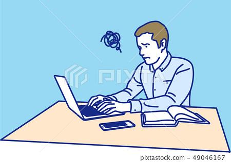 노트북에서 일하는 남성 곤란 49046167