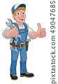Mechanic Plumber Wrench Spanner Cartoon Handyman 49047685