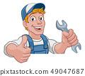 Mechanic Plumber Wrench Spanner Cartoon Handyman 49047687