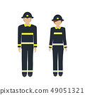 man and woman character firefighter 49051321